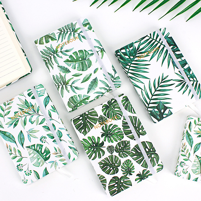 Green Leaves ver.2 Beautiful Hard Cover Notebook Lined Freenote Journal Study Diary Stationery Gift