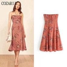 COZARII 2019 summer dress women vestidos sexy style print bow halter strapless de fiesta party tops plus size
