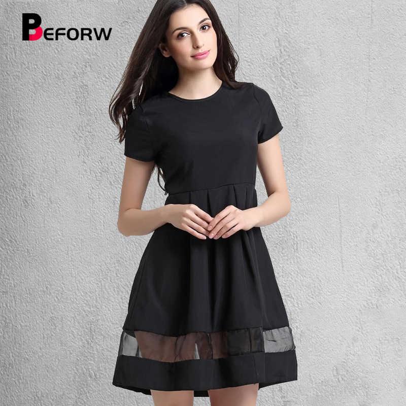 a10ed6dd497 До бренд Для женщин платья Мода шею Однотонная повседневная обувь летнее  платье большой Размеры сращивания сексуальное