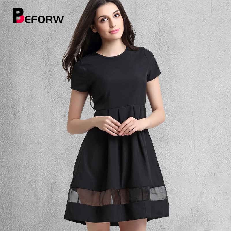 BEFORW Marca Donna Abiti Moda Girocollo Solid Casual Summer Dress Big Size Splice Sexy Dress Nero Vintage abiti da ufficio