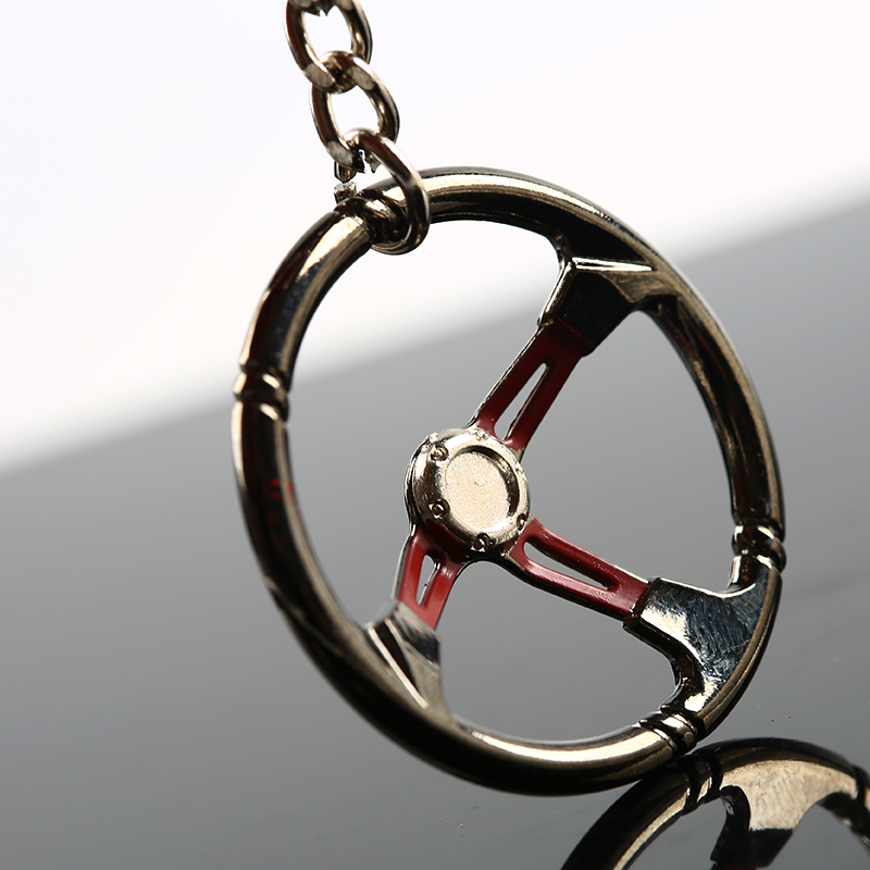 Racing Car Steering Wheel Zinc Alloy Mini Keychain Keyring keyfob Pendent stylish zinc alloy cowhide waist decoration keychain brown coffee