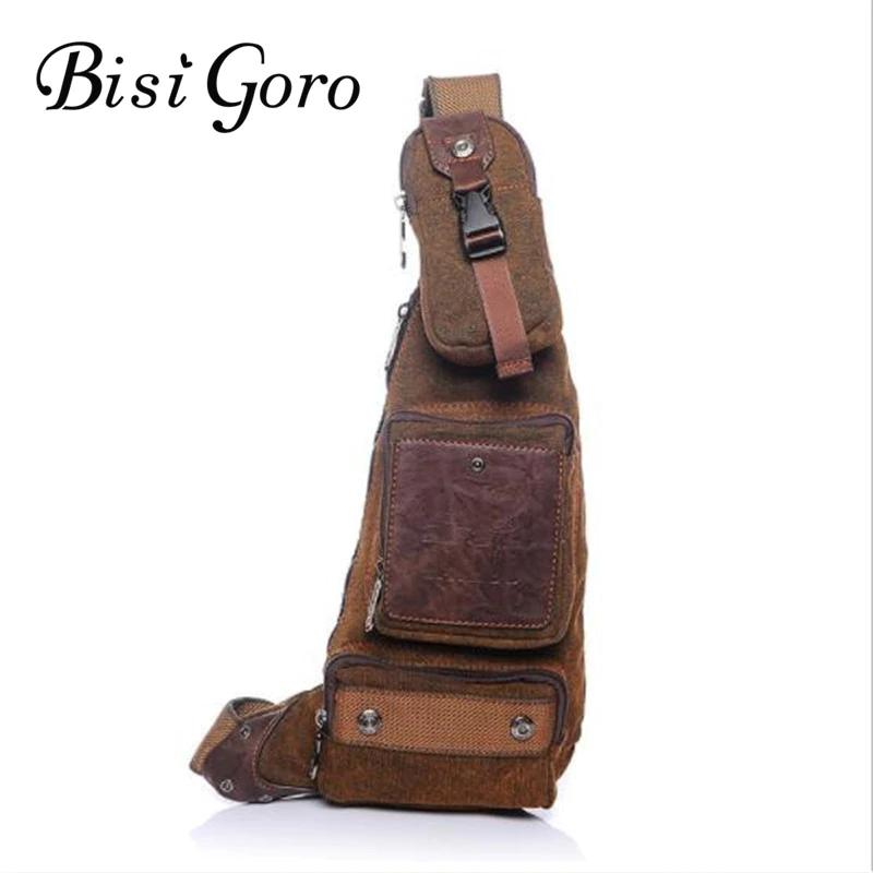 Bisi Goro 2018 New Vintage Crossbody Bag for Men Messenger Chest Bag Pack Casual Canvas Bag Patchwork Single Shoulder Strap Pack lapoe 2018 new vintage genuine leather crossbody bags for men messenger chest bag pack casual bag single shoulder strap pack