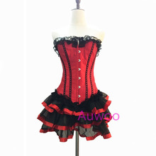 LAUWOO Women Sexy Burlesque Overbust Corset with Mini TuTu Skirt