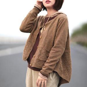 Image 2 - Повседневные кардиганы с круглым вырезом и длинным рукавом, одноцветные однобортные кардиганы с карманами, осень/зима 2019, свободный женский свитер