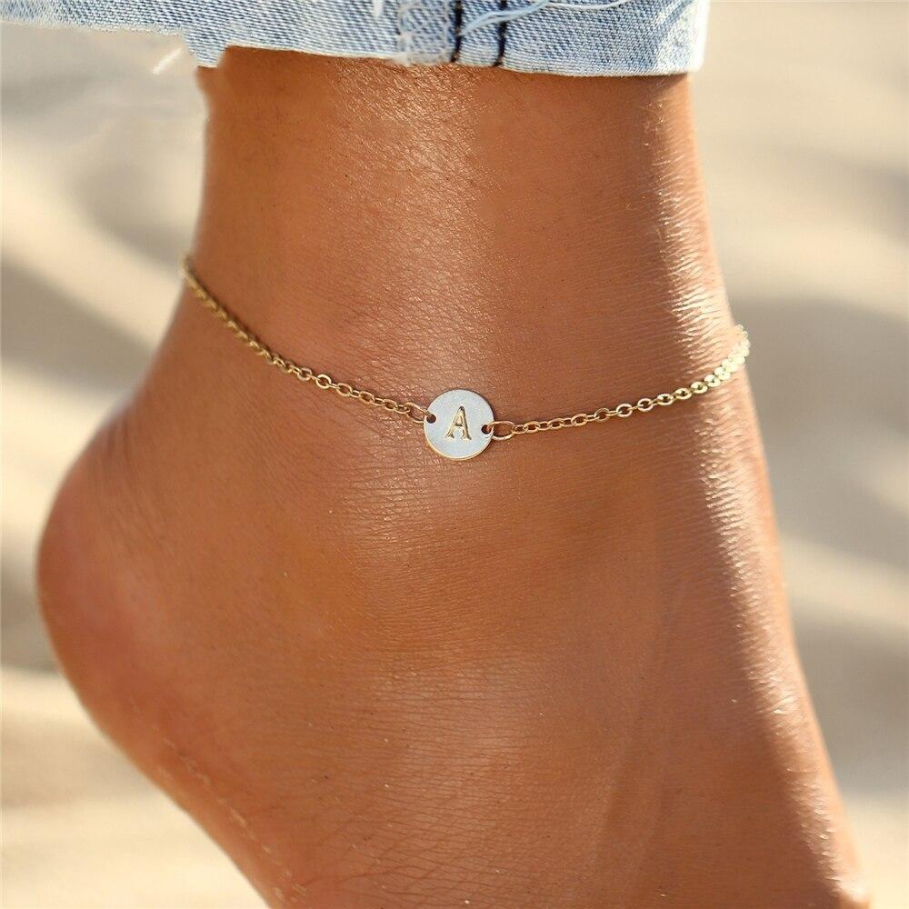 IF ME Fashion Initial Letter Round Charms Bracelet & Bangle for Women Pulseras Capital J K Pendant Chain Name Bracelets Jewelry 2