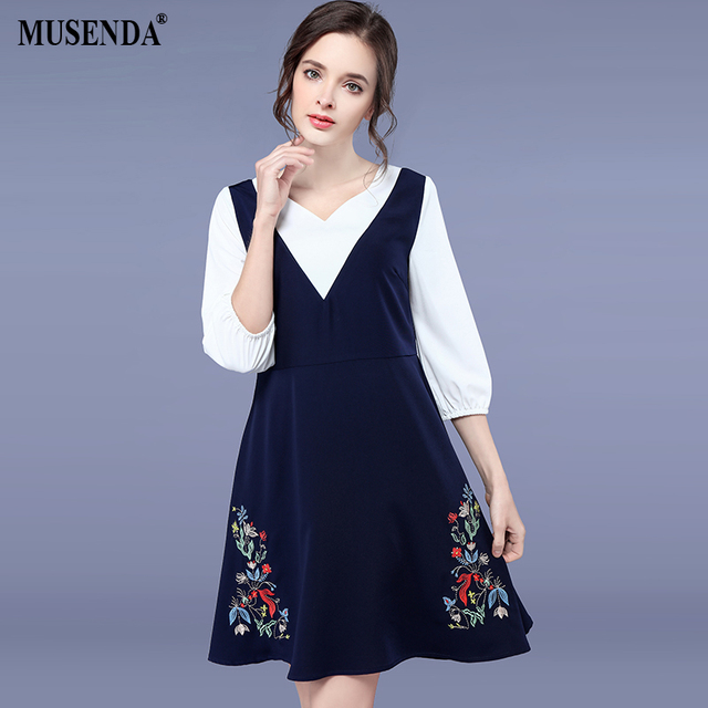 abdd996f74 MUSENDA Plus Size Women White Royal Blue Patchwork Floral Embroidery Tunics  Dress 2018 Summer Sundress Lady Sweet Party Dresses
