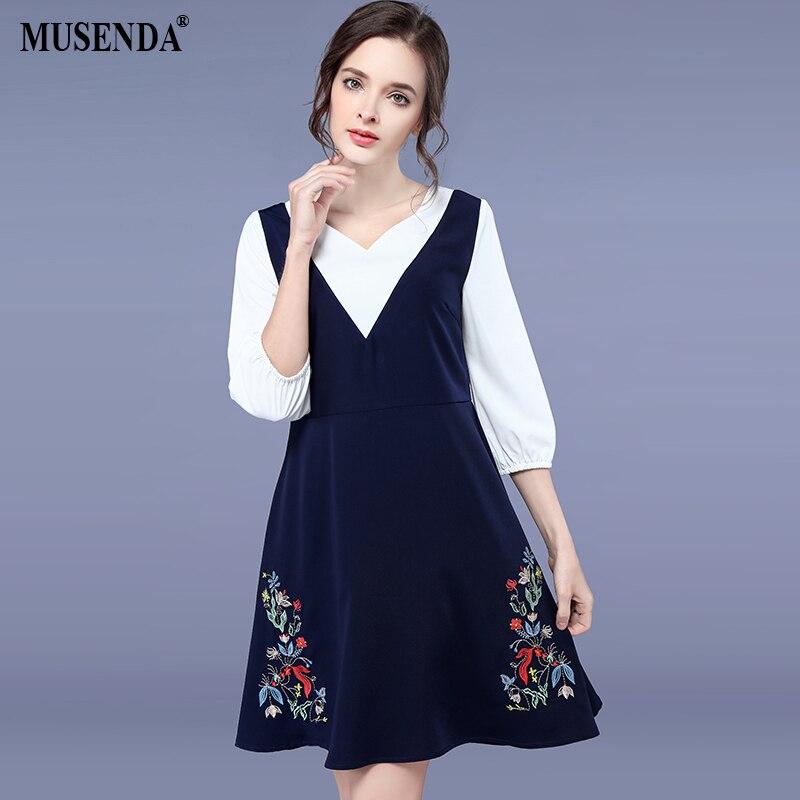 Musenda плюс Размеры Для женщин Белый Королевский синий лоскутное цветочной вышивкой туники платье 2018 летний сарафан леди сладкий Платья для в...