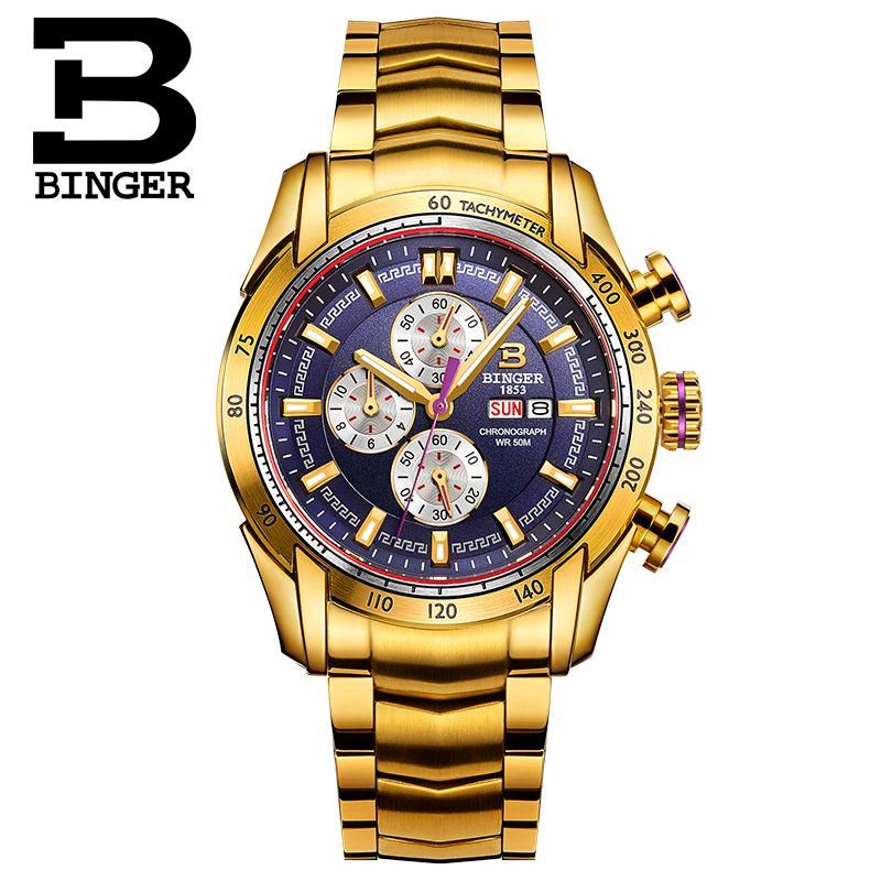 2018 relógios masculinos marca de luxo relógios de pulso binger quartzo ouro cor relógio esporte cronógrafo mergulhador glowwatch B1163 8 - 3