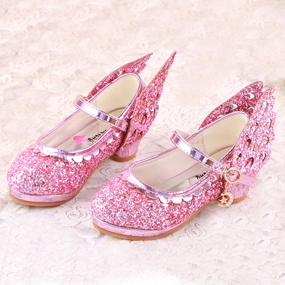 Kitiin Shinning Glitter Kids Girl High Heels 2017 New