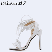 DEleventh Hot Sexy Cross-Strap Lace-Up Stiletto High Heels Peep Toe Woman Shoes Party Dress Shoes Sandalias Mujer 2018 Black EUR