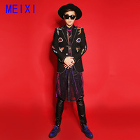 Unique black embroidery rhinestone suit jacket performance costume nightclub personality magician stage costume