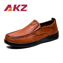 AKZ Spring Summer Loafers Men Casual shoes cow Split Leather Breathable Comfortable Light Male Flats shoes Slip on new men genuine leather party dress shoes breathable fashion wedding casual male flats cow leather split loafers soft black