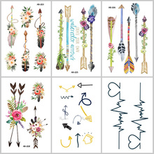 Wyuen NEW Hot Design Temporary Tattoo Tatoo for Adults Waterproof Sticker Arrows Pattern Body Art Make Up Fake Tattoo AB-007
