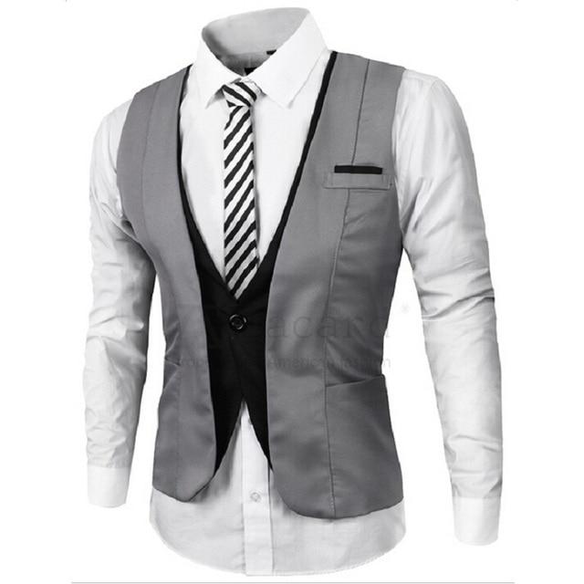Мода Высокого качества Мужские Случайные Костюм Жилет v-воротником Slim Fit Жилеты Серый/черный M-XXL мужчины Бизнес одежда мужской костюм Жилет
