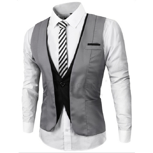Fashion High quality Mens Casual Suit Vest V-necked Slim Fit Vests Gray/black M--XXL men Business clothing Male suit Vest