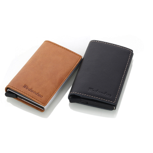 Image 5 - Weduoduo erkekler hakiki deri kartlık RFID Metal kredi kartı tutucu Anti theft erkekler cüzdan otomatik Pop Up kart kılıfı