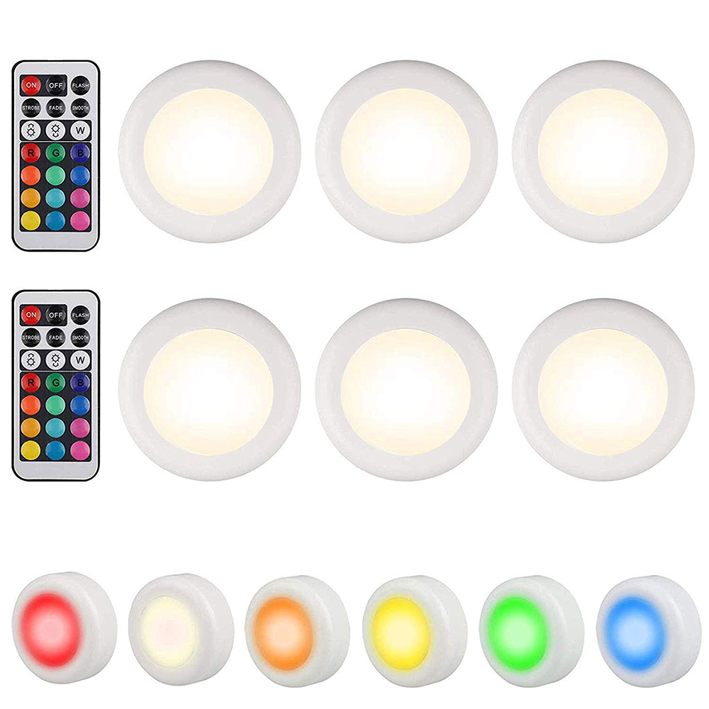 RGB 12 Colors Dimmable Led Under Cabinet Light Touch Sensor LED Puck Lights Wall Lamp For Wardrobe Cupboard Closet Kitchen Light