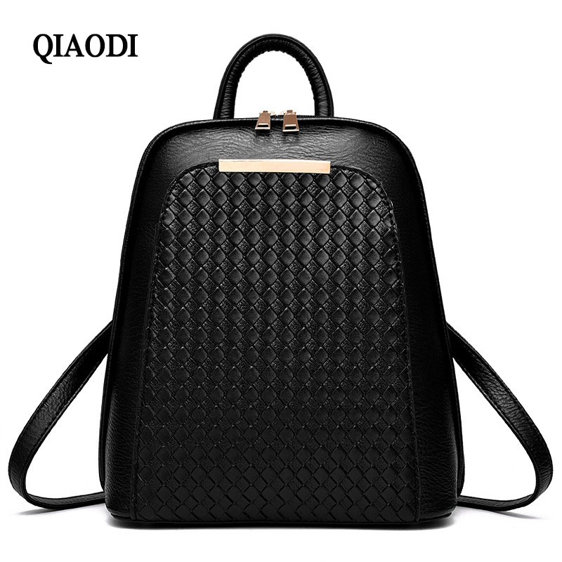 QIAODI  Brand Women's PU Leather Backpack Fashion Leisure Travel Bag Women School Bags Teenage Backpacks for Girls brand women backpack pu leather school backpacks for teenage girls shoulder bag large capacity travel bags