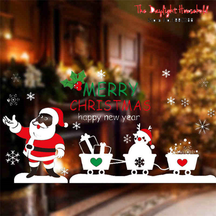 2017 Merry Christmas Decoration Widnows Sticker Santa Larry Transparent Film Wall Decals for Window Showcase