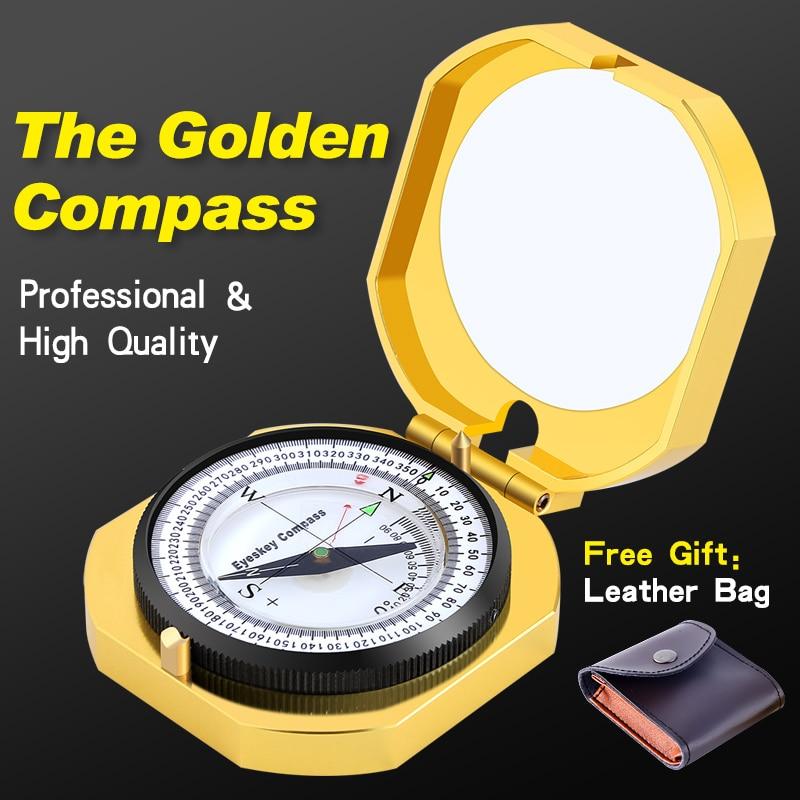 Eyeskey Navigation Metal Golden Compass Handheld Lightweight Luminous Geology