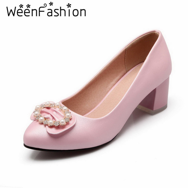 WeenFashion 2016 Sweet Womens Pointed Toe Candy Color Pumps with Pearl and Bowtie Elegant Lady Mid Heels PU Casual Party Shoes