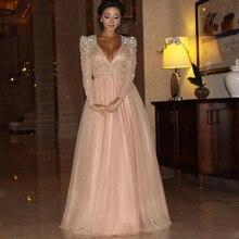 Myriam Fares 2016 Formale Abend-kleid Mit Langen Ärmeln V-ausschnitt Arabisch Prom Party Kleider Mit Kristallen Perlen Celebrity Kleider