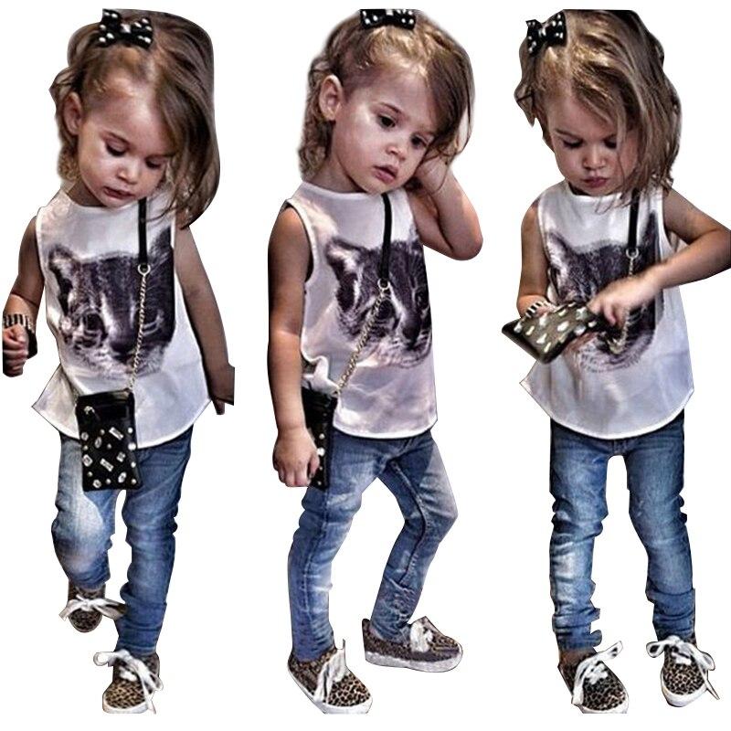 Summer Girls Clothing Sets Printed Cat Sleeveless Tops + Denim Pants 2pcs Baby Girls Set 1-7 Years Kids Clothes Children Suit
