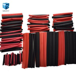 GREATZT 1set=150 PCS 7.28m Black And Red 2:1 Assortment Heat Shrink Tubing Tube Car Cable Sleeving Wrap Wire Kit