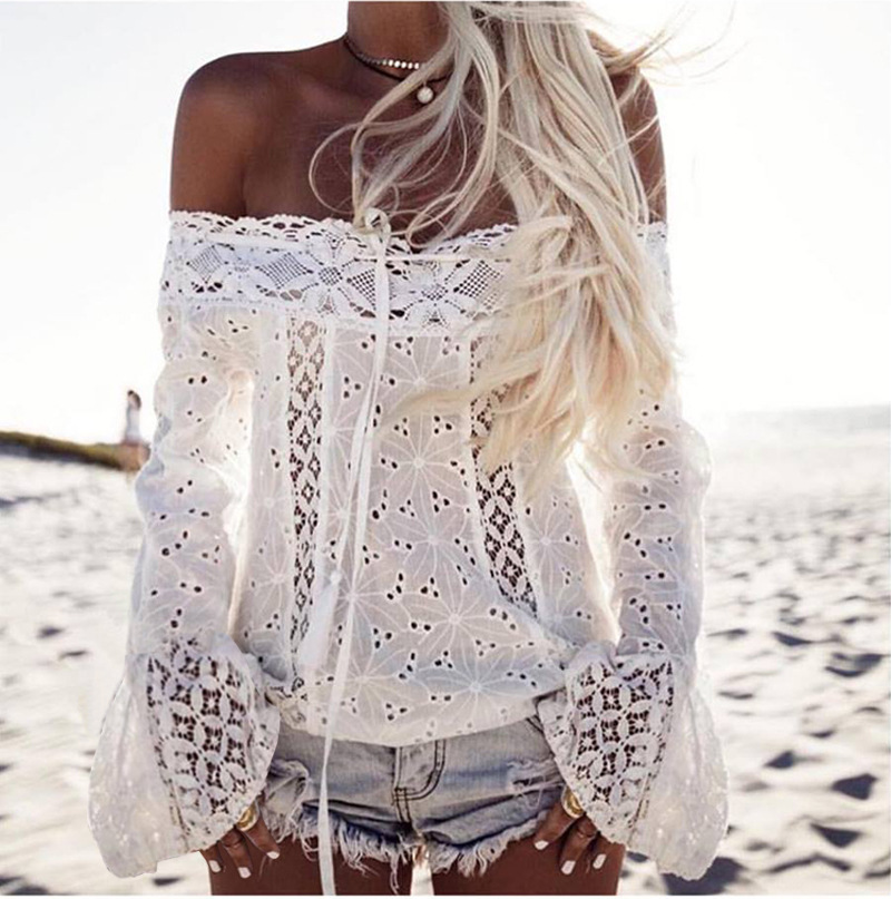 LOHILL Summer T Shirt Women Lace Sexy Off Shoulder Solid White Strapless Long Sleeve Tops Leisure Loose Fit Casual Lace T shirts
