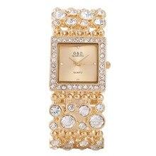 Для женщин Часы Мода 2017 г. G & D бренд класса люкс кристалл золота браслет Часы дамы Сталь Кварцевые наручные часы платье в деловом стиле часы