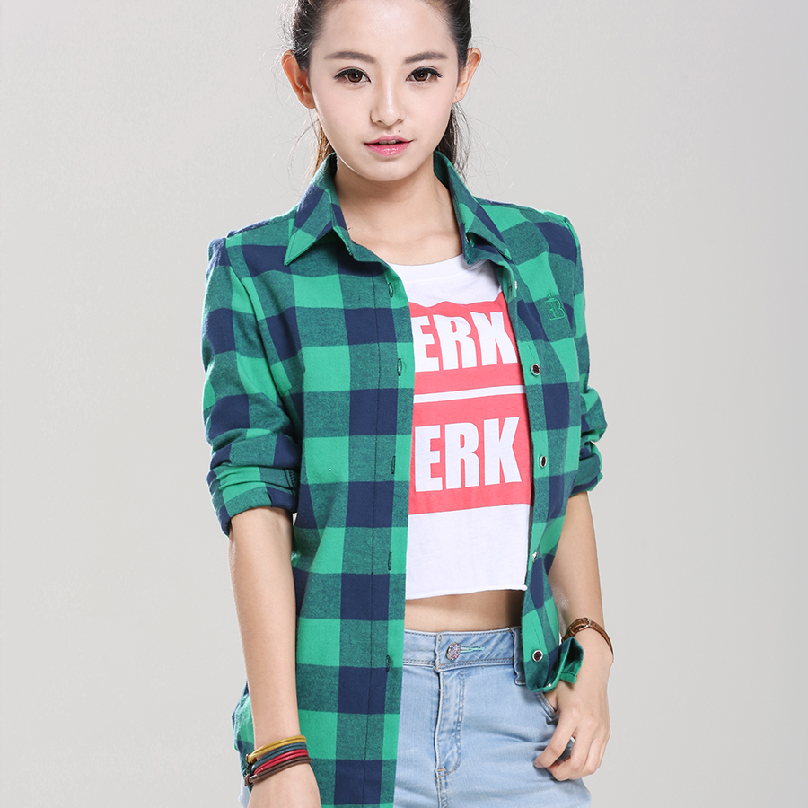 Womens Red Plaid Flannel Shirt Fit Slim Casual Long Sleeve ...