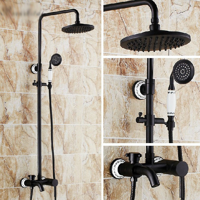 Classical Oil Rubbed Bronze Bathroom Soild Brass Shower Set Faucet 8Round Shower Head