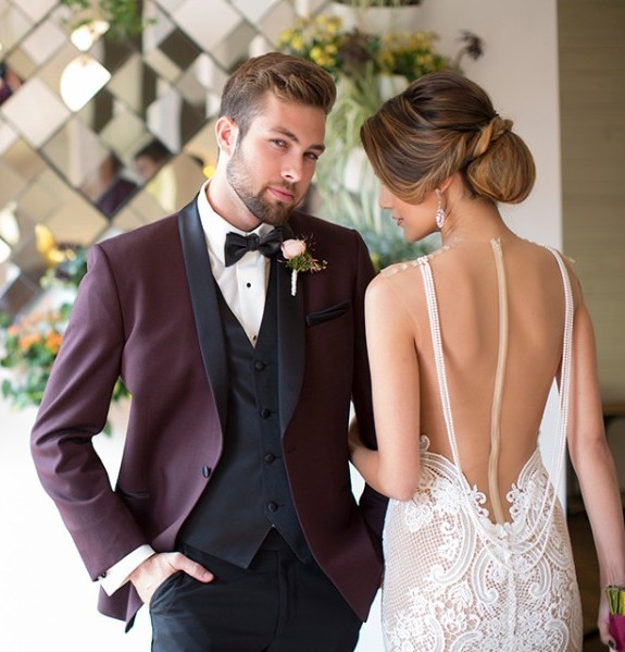 Wine Red Wedding Suits For Men Black Shawl Lapel Formal Groom Tuxedo Custom Best Man Suits 3 Pieces Men Suits With Black Pants