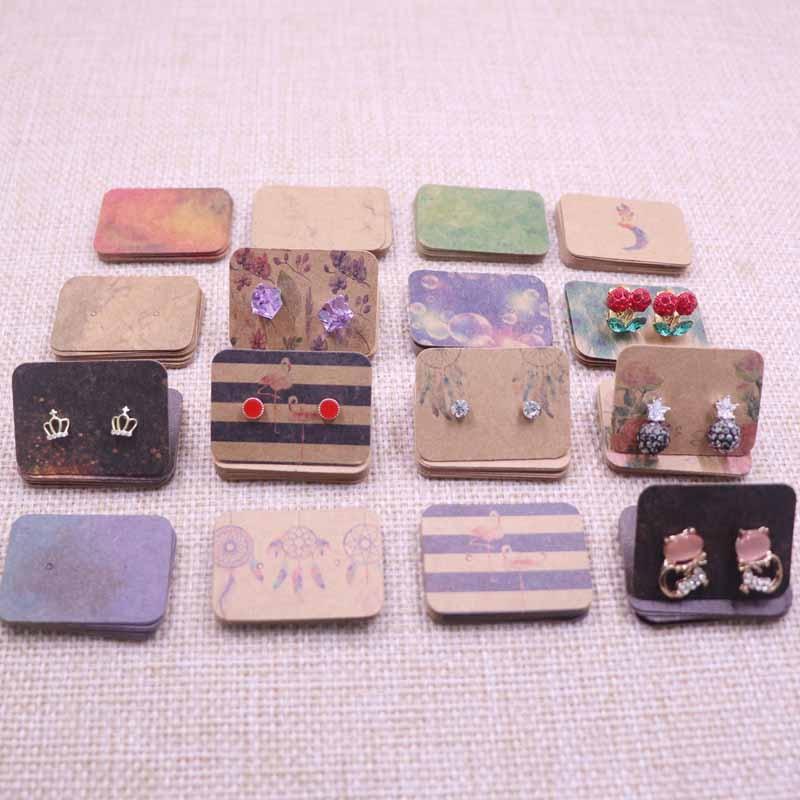 2.5x3.5cm Tiny New Arrival Kraft Paper Earring Cards DIY Full Print Earring Tag Dreamcathcer/flower Cute Stud Earring Card200PCS