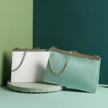 Snake Pattern Vintage Style Clip Bags Gold Chain Portable Leather Envelope Bag Summer Mini Green Lucxury Cowhide Square Pochette