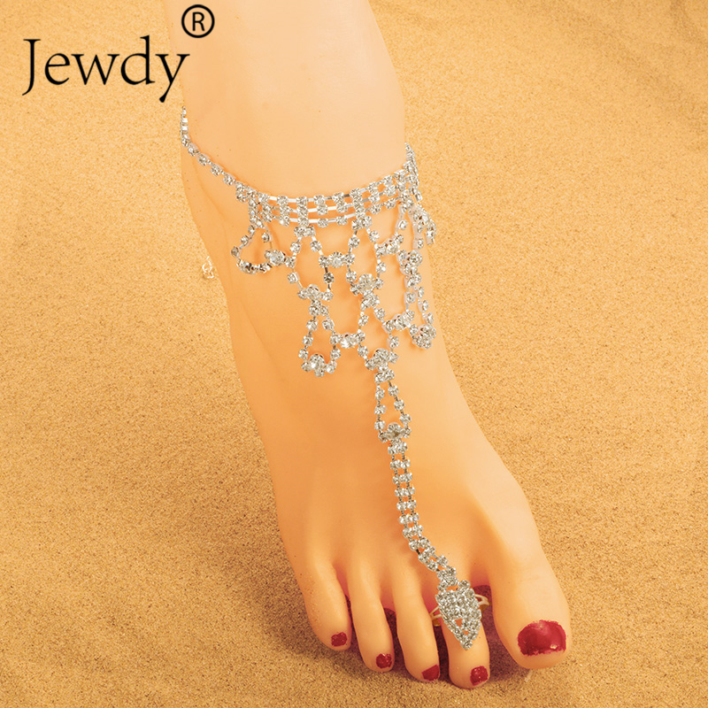 Jewdy Bride New Rhinestone Flower Anklet Foot Anklet Summer Charm Toe Anklet Tassel Sandals Beach Foot Jewelry