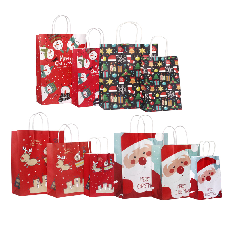 10pcs/lot Kawaii Multifuntion Christmas Santa Claus Snowman Gifts Elk Paper Bag 27*21*11cm Festival Gift Bags With Handles