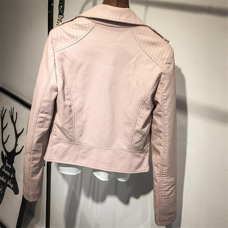 Black Pink Women Short PU Leather Jacket Women PU Bomber Jacket Women Motor Jackets Motorcycle jacket