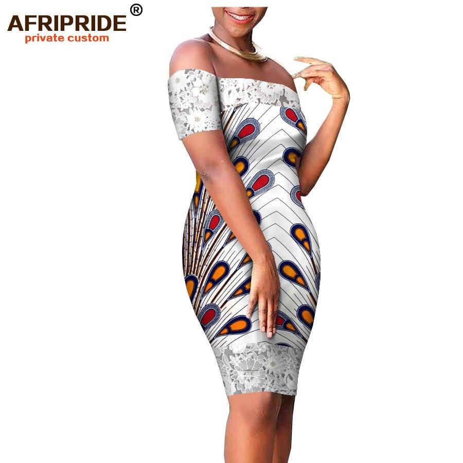 2018 été ankara imprimer robe mi-longue pour les femmes AFRIPRIDE slash cou genou longueur batik coton et dentelle femmes tenue décontractée A1825070
