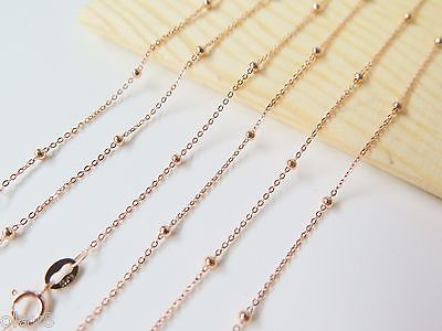 New Real 18inch Au750 18K Rose Gold Necklace Womens O Link Beads Chain 1-1.5gNew Real 18inch Au750 18K Rose Gold Necklace Womens O Link Beads Chain 1-1.5g
