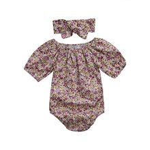 HI&JUBER Baby Girls Floral Print Romper +Headband Jumpsuit Play Suit Short Sleeve Outfits Clothes