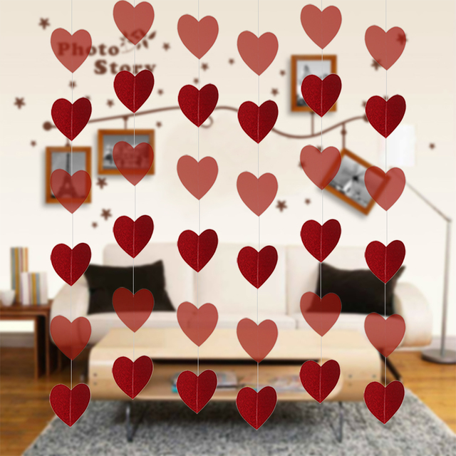 6 8ft DIY Red Heart String Marriage Bomboniere Wall Door