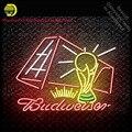 Budweise футбол неоновая вывеска Декор стеклянная трубка ручной работы световые вывески пользовательский бренд логотип на заказ освещенные пе...