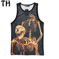 2016 New Women Men Tank Tops Personality  Statue of Liberty Sexy Skull Graffiti 3D Print Mesh Breathable Casual Vest #160337