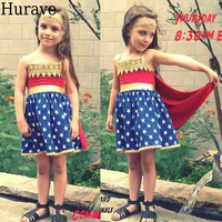 Hurave Summer Girl Dresses So Cool Wonder Woman Dresses Star Pattern Cloak Dresses Fashion Girl Clothes