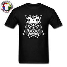 Art Design Tshirt Owl The Day of Dead Aesthetic 100% Cotton Round Collar Mens T-Shirt 3D Printed Black T Shirt New