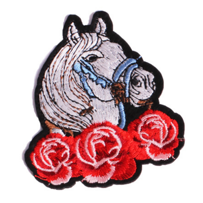 Street Fashion Icon 81mm horse rose iron on patches for clothing embroidery biker patch for clothes t shirt applique stickers