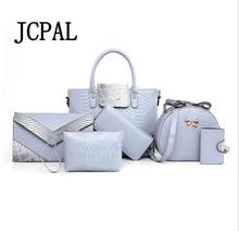 6 PCS / set of female bag compound bag retro ladies handbag shoulder strap handbag purse wallet leather handbag