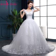 Weddings Events - Wedding Dresses - Beauty-Emily White Wedding Dresses 2017 Ball Gown V-neck Lace Up Court Wedding Party Bridal Dresses  Vestido De Noiva Plus Size