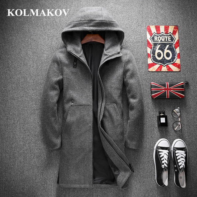 KOLMAKOV New Men's Trench Coats 2019 Autumn Mens Wool Trench Coat M-4XL Hooded Windbreakers Masculino Good Quality Jackets men